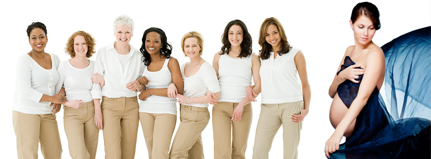 Diverse Women That Are OBGYN Patients Standing Together Interlocking Arms with Pregnant Woman Draped in Cloth
