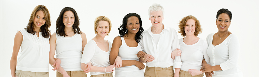 Diverse Women That Are OBGYN Patients Standing Together Interlocking Arms